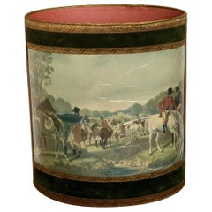 Authentic Waste Basket Paper Bin Hunting Scene, Made in France, Midcentury