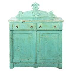 Blue Painted Eastlake Style Cupboard