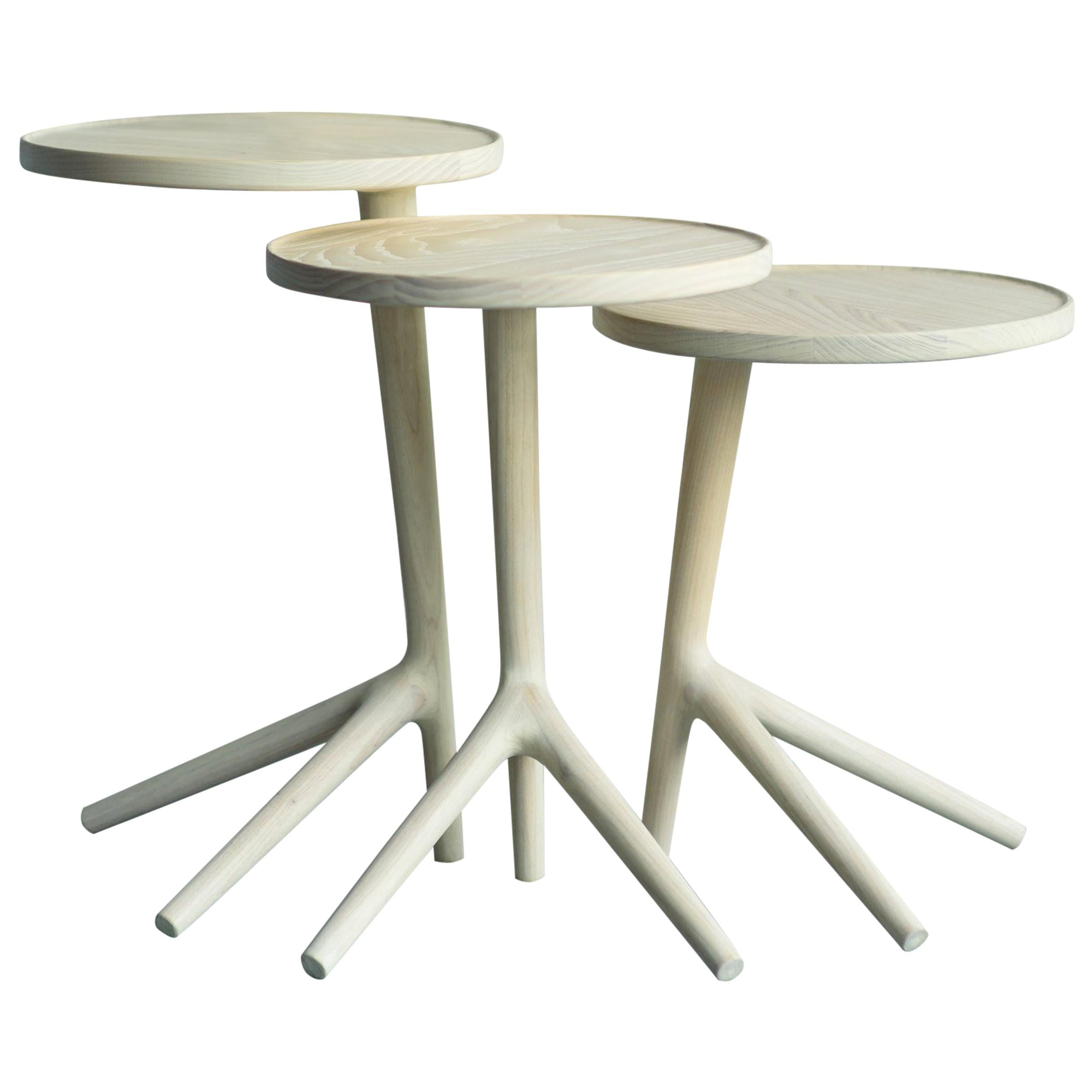 Nesting Cocktail Tables - White Ash handmade by Fernweh Woodworking Set of Three