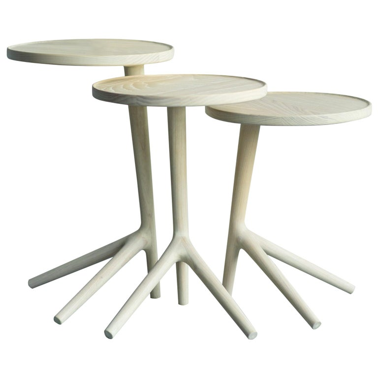 Nesting Cocktail Tables - White Ash handmade by Fernweh Woodworking Set of Three For Sale