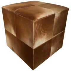 20th Century Cowhide Cube Ottoman or Pouf in Light Brown SALE