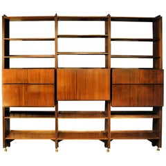 Vintage Italian Bookcase with Doors, Bar Cabinet, Drawers, 1950s