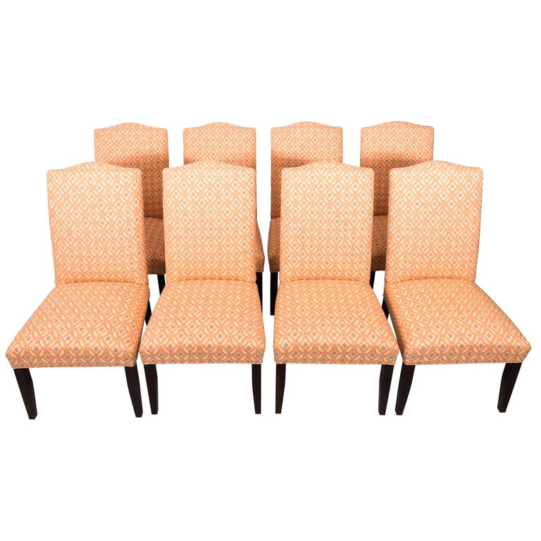 Set of Eight Upholstered Dining Chairs For Sale