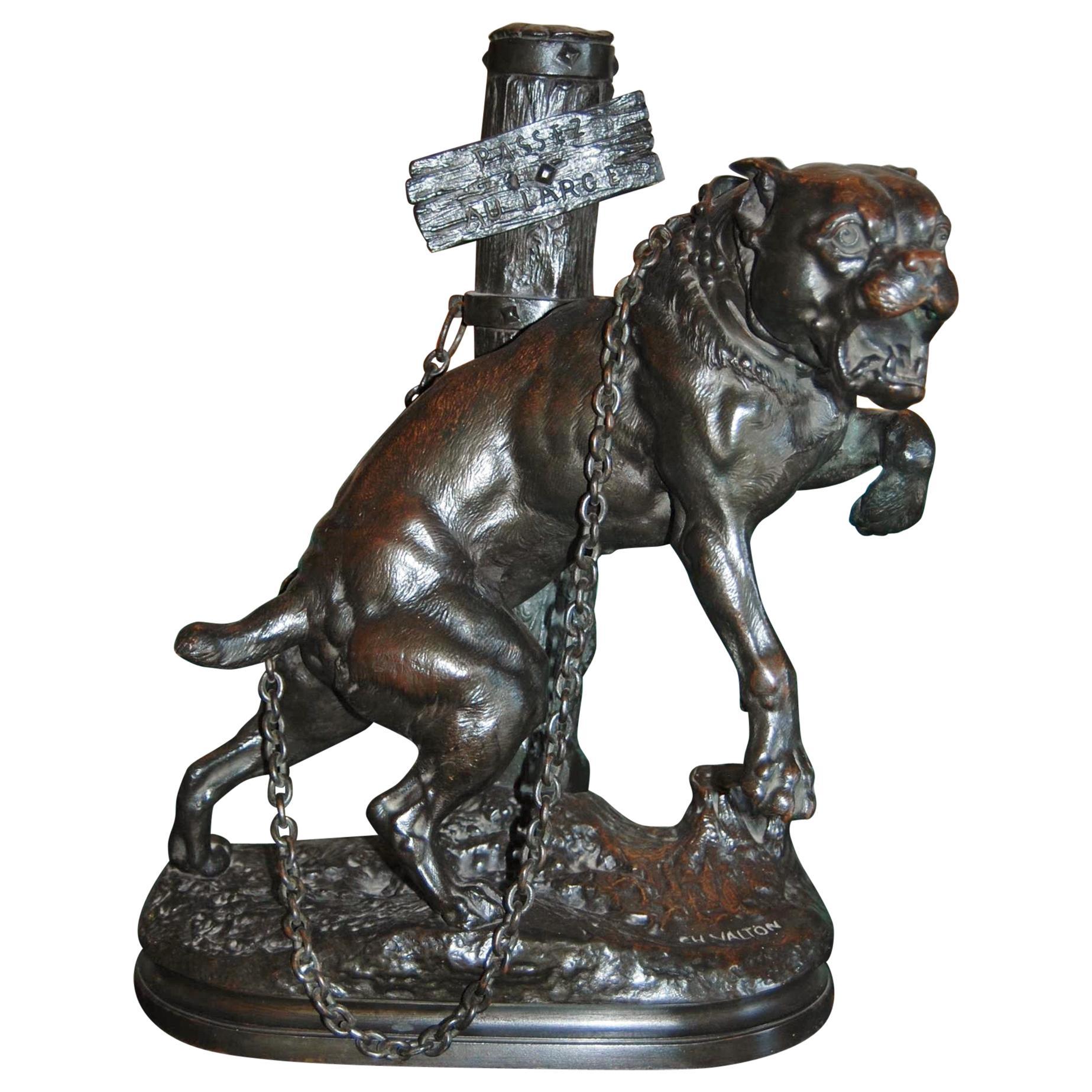 Bronze Sculpture Mastiff by Charles Valton Dog Bronze statue animalier Antiques