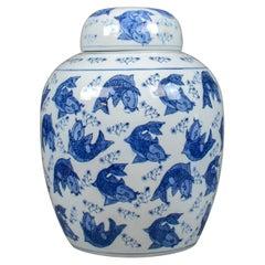 Large Oriental Ginger Jar, Vintage, Decorative Ceramic Vase, Koi Carp Fish