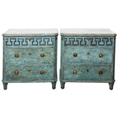 Pair of Swedish Blue Painted Commodes
