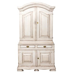 White Painted Swedish Baroque Cupboard