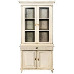 White Painted Glass Front Bookcase from Denmark