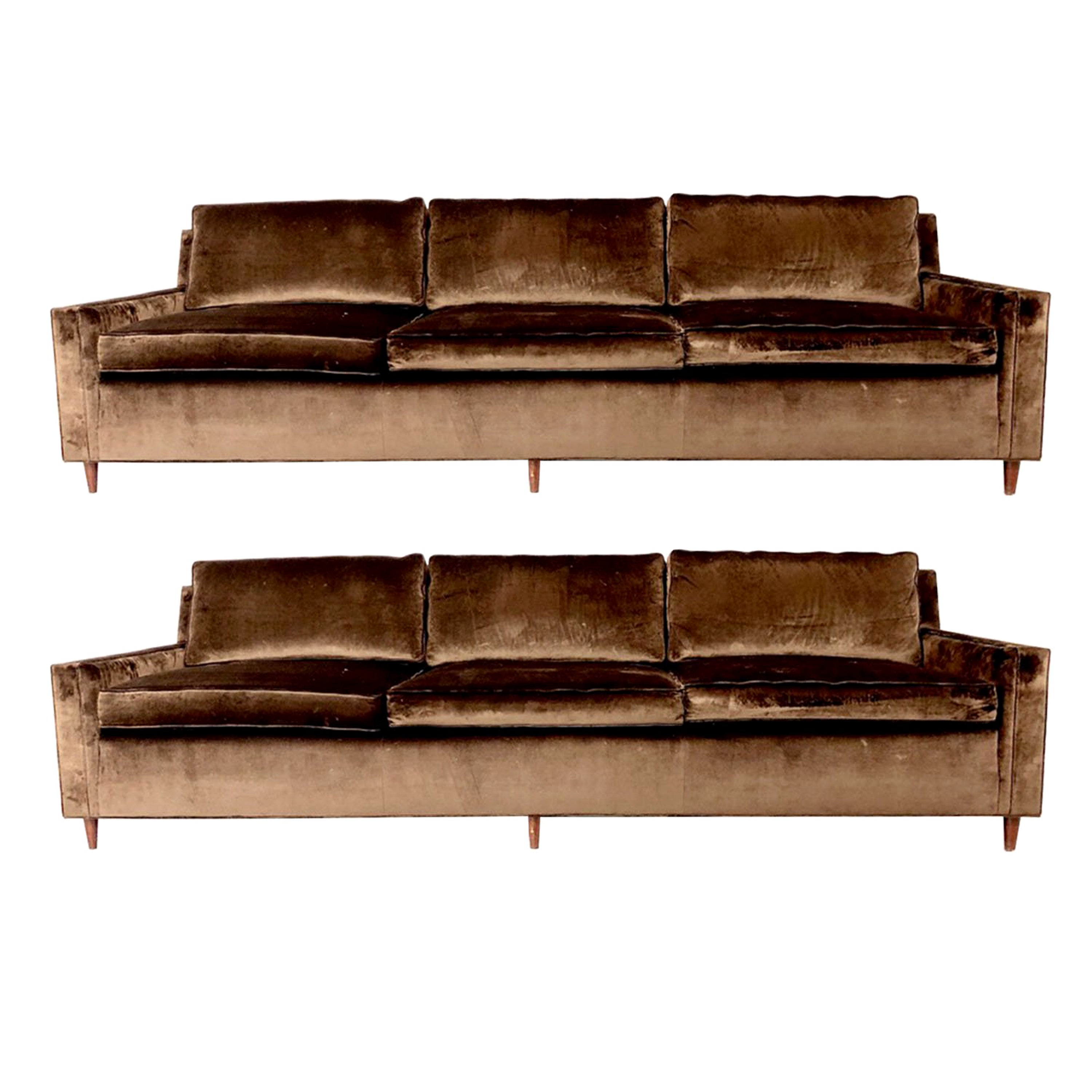 Incroyable MCM Velvet Sofas In The Style Of Dunbar (One Available)