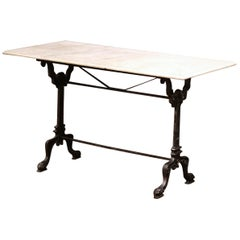 19th Century French Black Iron Bistrot Table with Original White Marble Top