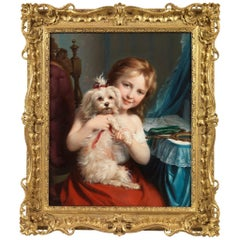 Fritz Zuber-Bühler a Young Girl with a Maltese Terrier