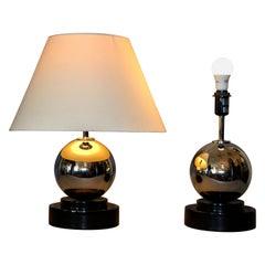 Modern Van Teal Chrome Ball Table Lamps, Pair