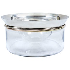 Sterling Silver Cartier Crystal Art Deco Style Caviar Service