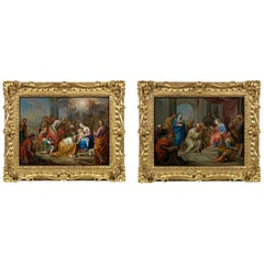 Adoration of the Magi and Christ Amongst the Doctors a Pair, Oil on Copper