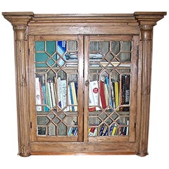 English 19th Century Stained Glass Cabinet with Two Glass Doors and Two Shelves