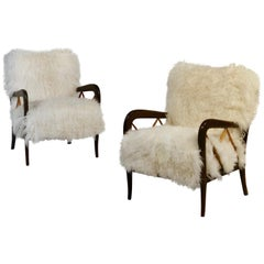 Pair of Italian Midcentury Walnut and Sheepskin Armchairs by Paolo Buffa