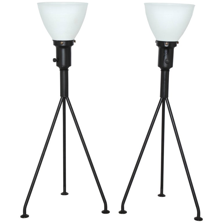 Pair of Gerald Thurston Black Iron Tripod Table Lamps with White Glass Shades For Sale