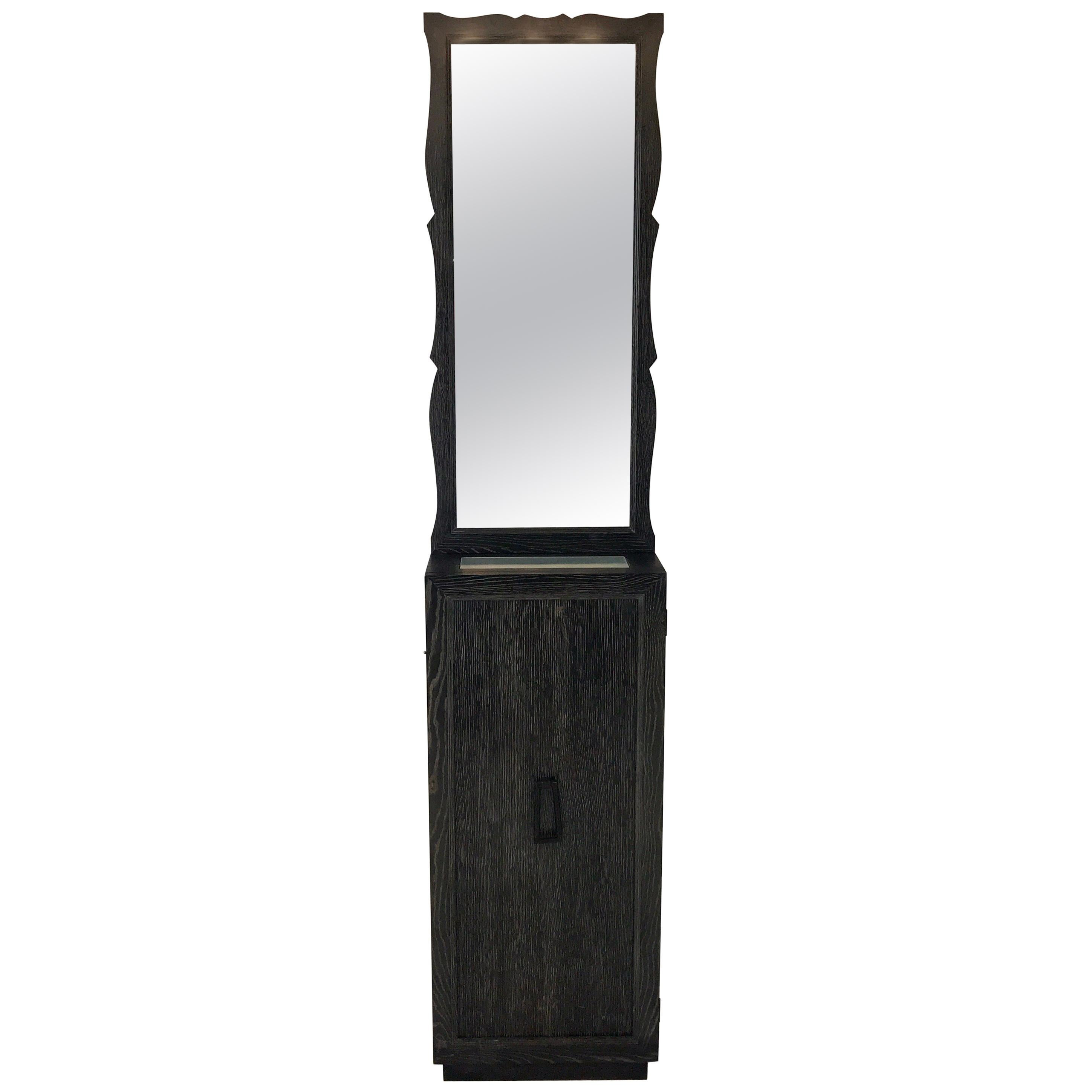 French Modern Cerused Pedestal Cabinet and Mirror