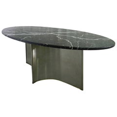 Midcentury Dining Table Marble Steel Metal Base in the Manner of Maison Jansen