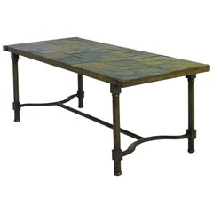 Jacques Adnet Coffee Table Iron and Slate Stone Top French Midcentury