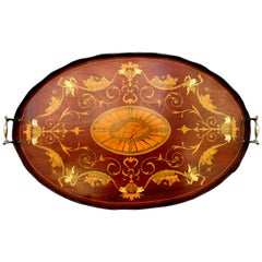 "Finest Antique English Marquetry Inlaid Mahogany ""Adam"" Style Tray"