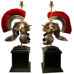 Pair of Grand Tour Steel and Brass Roman Helmets, Now as Lamps
