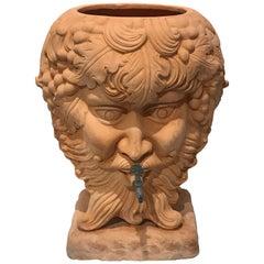 Italian Terracotta Bacchus Motif Planter, with Spigot