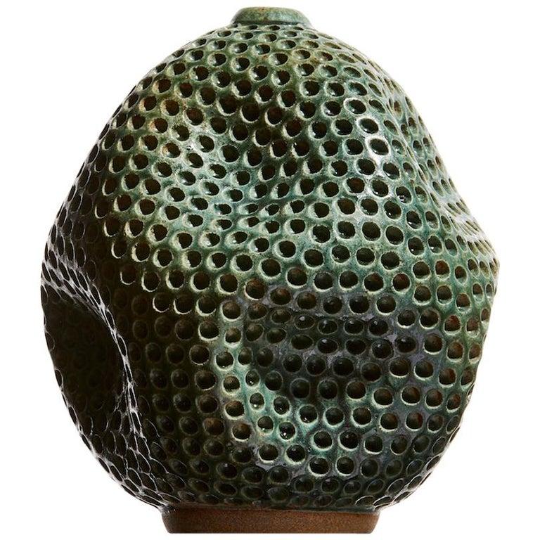 Wabi Sabi Japanese Style Antique Green Hand Carved Ceramic Vase Sculpure Vessel For Sale