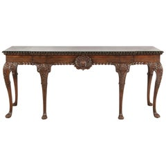 English George II Style Carved Mahogany Console, 19th Century