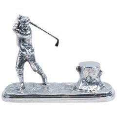 English Sheffield Silver Plated Inkwell with Golfer Design Details