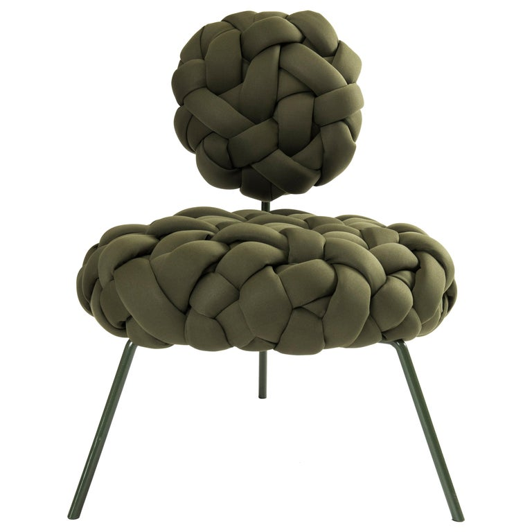 Cloud Lounge Chair, Handmade Upholstery in Neoprene, Olive For Sale