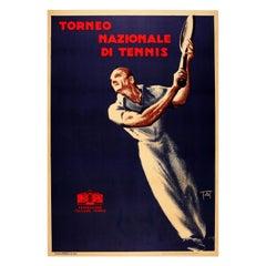 Original Vintage Art Deco Style Sport Poster Torneo Nazionale Di Tennis Italy