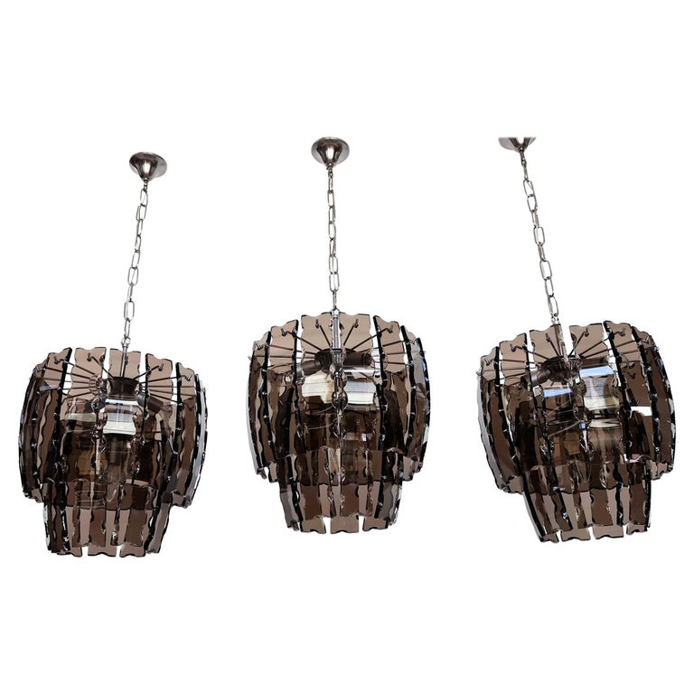 Italian Midcentury Murano Glass and Chrome Chandelier, 1970s For Sale