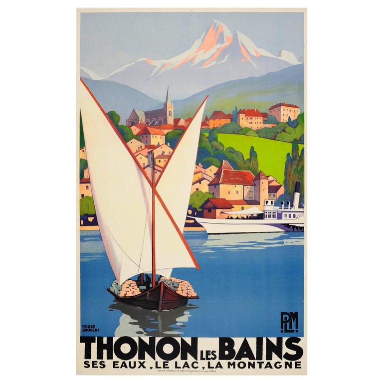 Original Vintage Art Deco Travel Poster by Broders for Thonon Les Bains PLM Rail