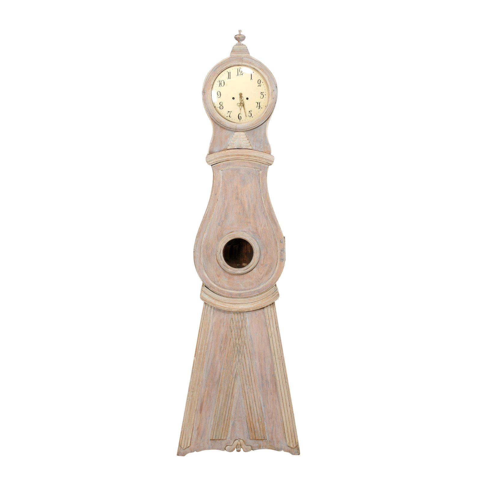 Swedish 19th Century Floor Clock with Round Finial Crest