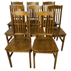 Set of 8 Vintage Birch Dining Chairs