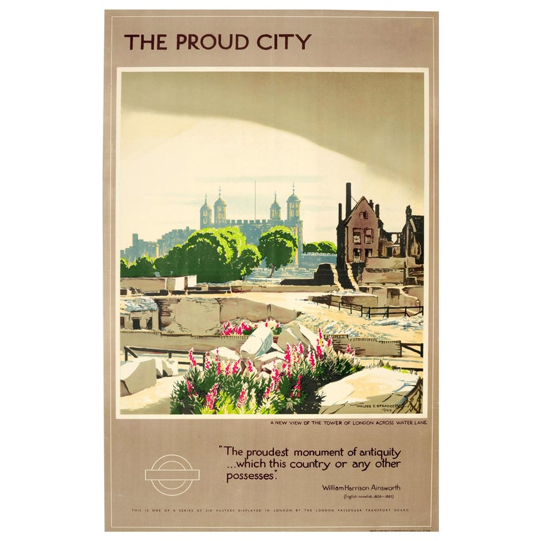 Original Vintage WWII London Transport Poster The Proud City Tower of London For Sale