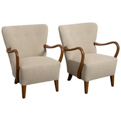 Pair of Midcentury Curved Wood Armchairs