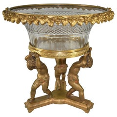 French Bronze Figural  Cherub Centerpiece with Cut Glass Bowl