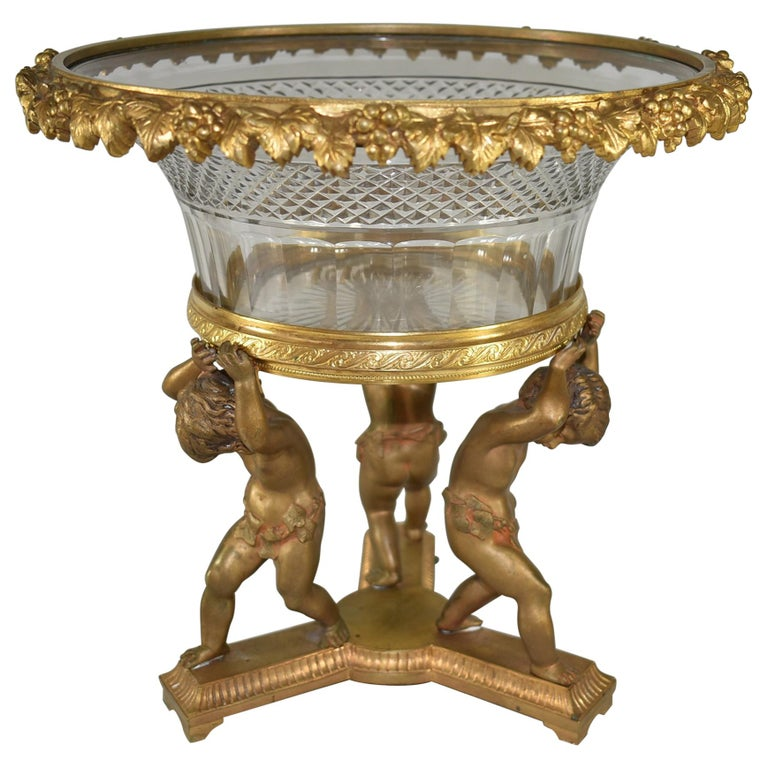 French Bronze Figural  Cherub Centerpiece with Cut Glass Bowl For Sale