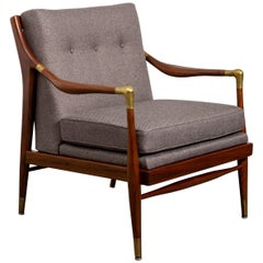 Restored American Midcentury Armchair with Brass Accents