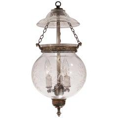 Globe Bell Jar Lantern with Vine Etching