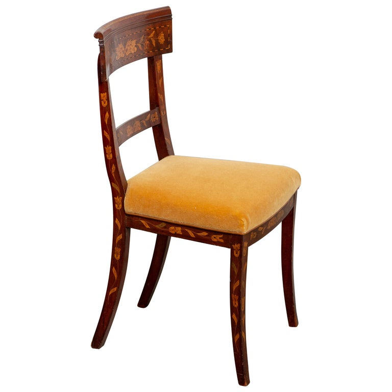 19th Century Dutch Marquetry Side Chair For Sale