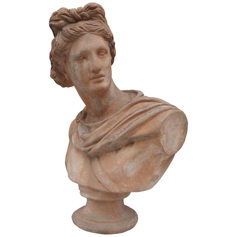 Antique Italian Renaissance Style Old Impruneta Terracotta Bust of Apollo For Sale