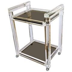 Lucite 2-Tier Smoke Glass Bar Cart