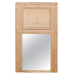 19th Century French Natural Wood Trumeau Mirror, 5.5 Ft Tall