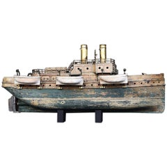 Scratch Built Folk Art Amazing French Distressed Ship Stamped, circa 1907