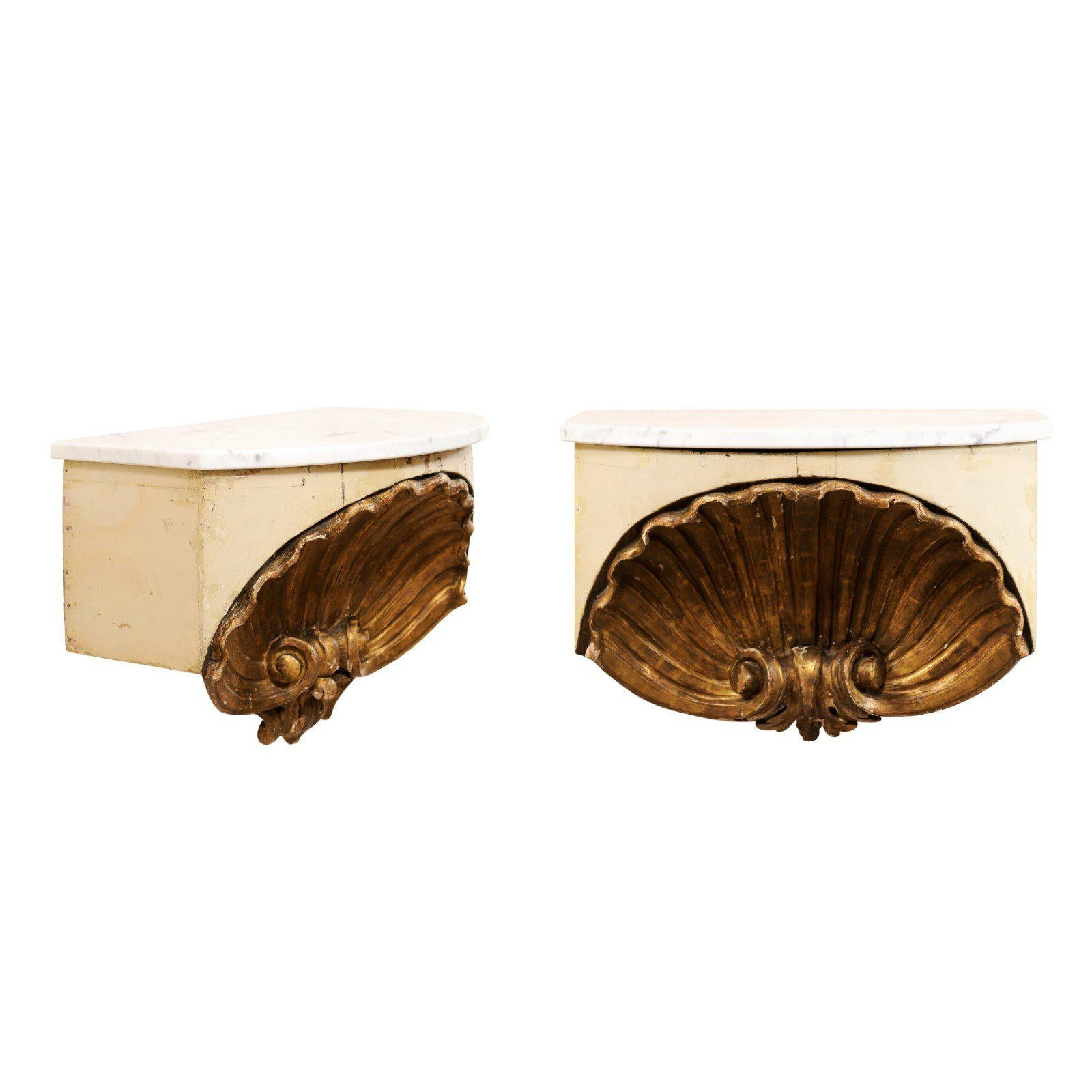 Pair of Early 19th Century Italian Shell Wall-Shelves with Marble Tops