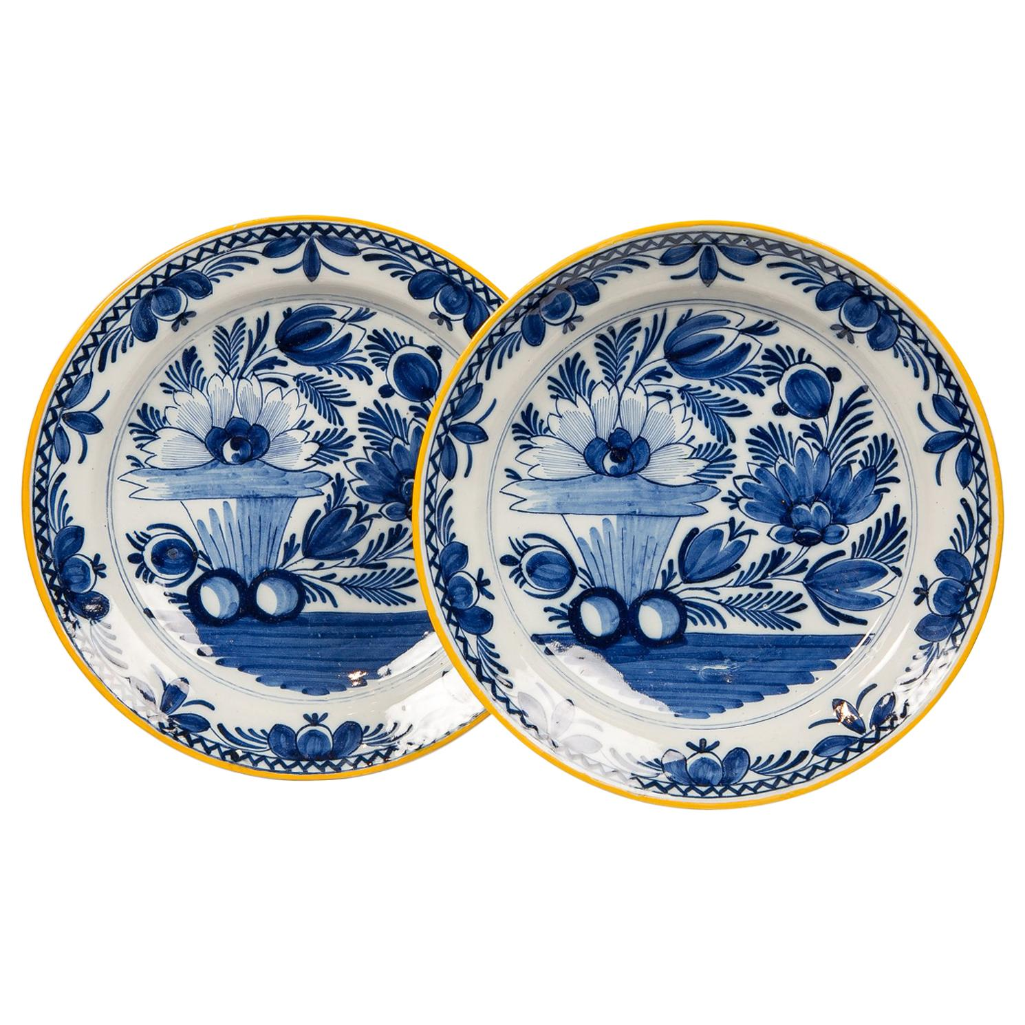 Pair of Antique Blue and White Delft Chargers Made circa 1800