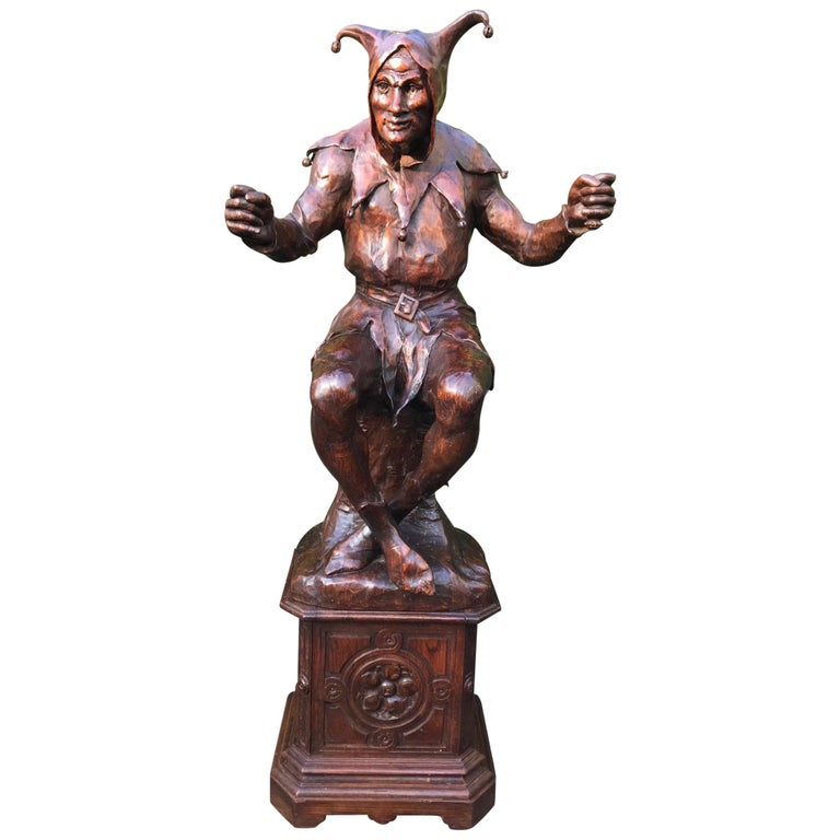Stunning, Large and Hand Carved Renaissance Revival Court Jester Sculpture For Sale